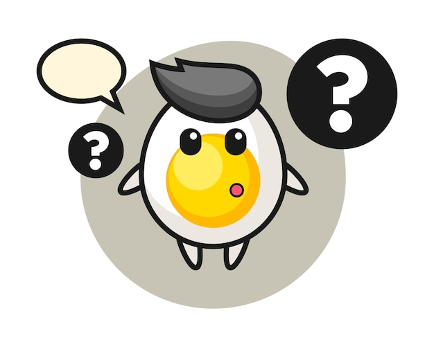Cartoon illustration of boiled egg with the question mark