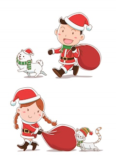 Cartoon illustration of boy and girl dressing santa claus cloths, walking with cat and dog.
