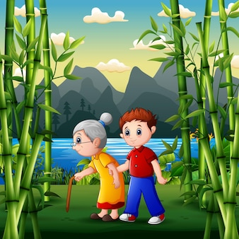Cartoon illustration of boy helping his grandmother walk in the park