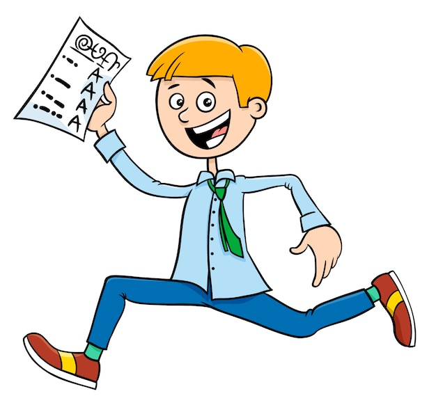 Cartoon illustration of boy and school certificate