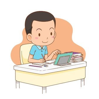 Cartoon illustration of boy studying at home