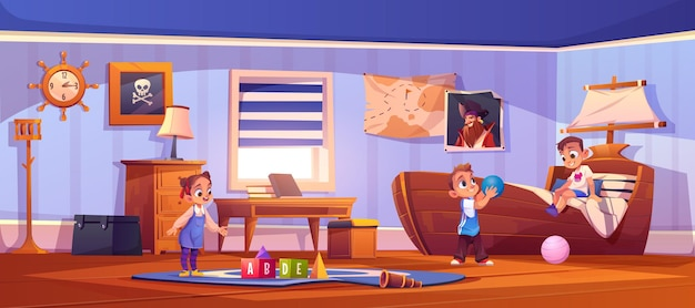 Cartoon illustration of boys and girl playing with toys in children room