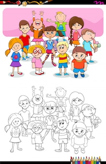 Cartoon illustration of boys and girls coloring book