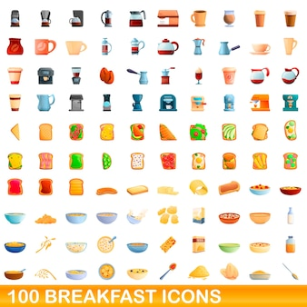 Cartoon illustration of breakfast icons set isolated on white