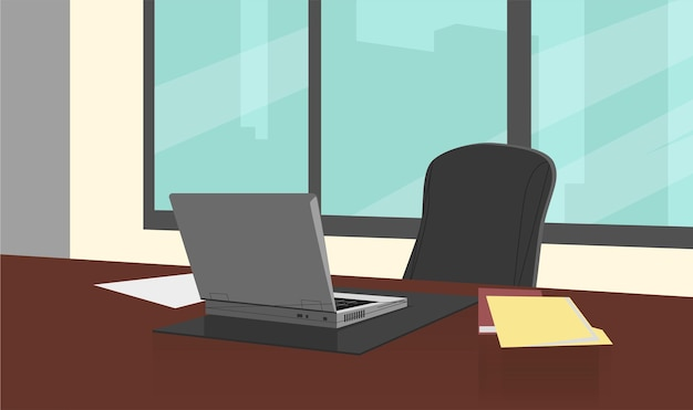 Cartoon illustration of bright office background concept