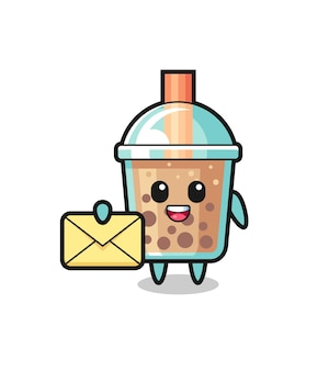 Cartoon illustration of bubble tea holding a yellow letter , cute style design for t shirt, sticker, logo element