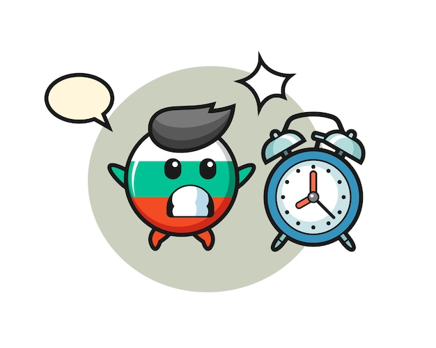 Cartoon illustration of bulgaria flag badge is surprised with a giant alarm clock , cute style design for t shirt, sticker, logo element