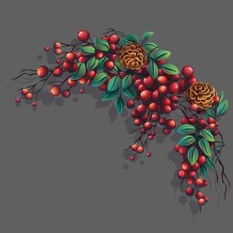 Карикатура иллюстрации гроздь рябины с листьями, ветками и шишками
