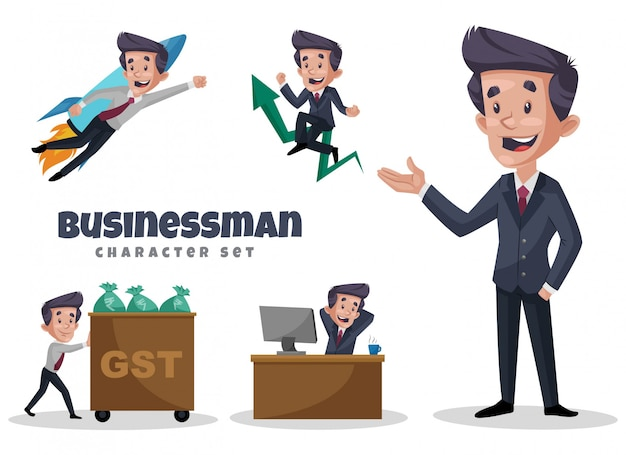 Cartoon illustration of businessman character set