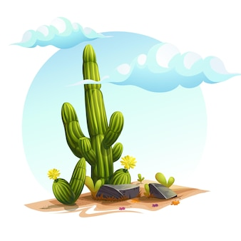 Cartoon illustration of a cactus bushes among the rocks on the sand under the clouds in the sky