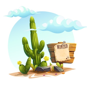 Cartoon illustration of a cactus, stones and a sign wanted under the clouds. background image for video web game user interface