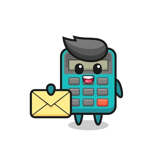 Cartoon illustration of calculator holding a yellow letter , cute style design for t shirt, sticker, logo element