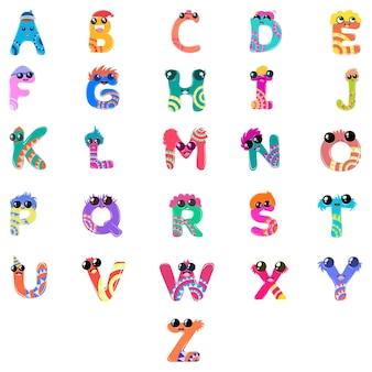 Cartoon illustration of capital alphabet set.