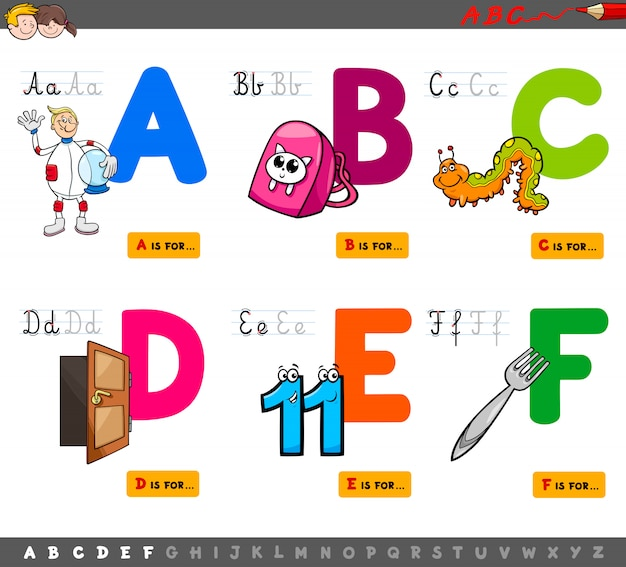 Cartoon illustration of capital letters educational set