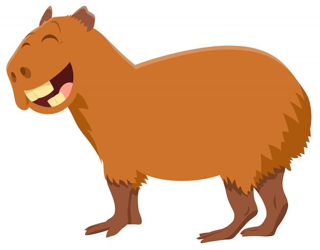 Cartoon illustration of capybara animal character