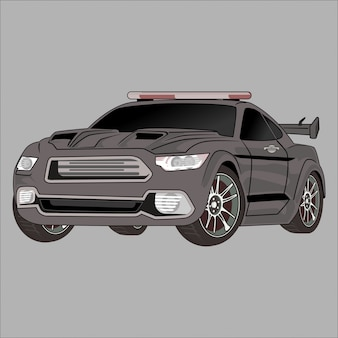 Cartoon  illustration car, police car