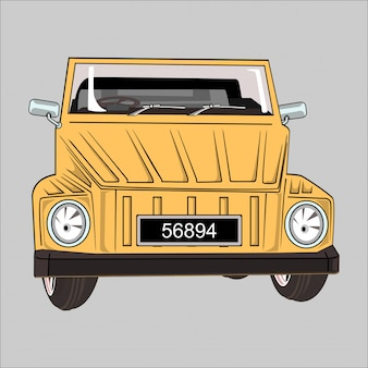 Cartoon  illustration car vw safari