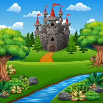 Cartoon illustration of castle on hill landscape