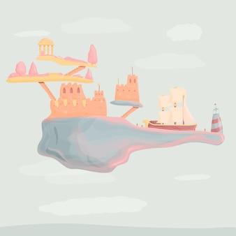 Карикатура иллюстрации замок в облаках с кораблем, векторные иллюстрации