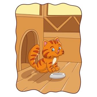 Карикатура иллюстрации кошка готовится кушать со своей тарелкой