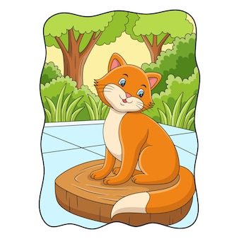 Cartoon illustration cat posing cool on a log in the yard