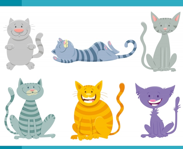 Cartoon illustration of cats animal characters set