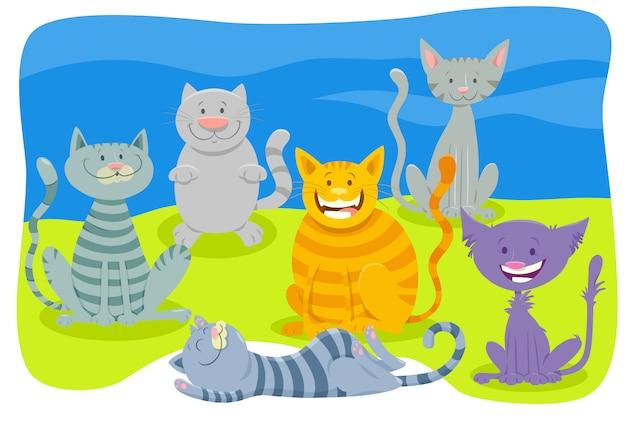 Cartoon illustration of cats animal characters