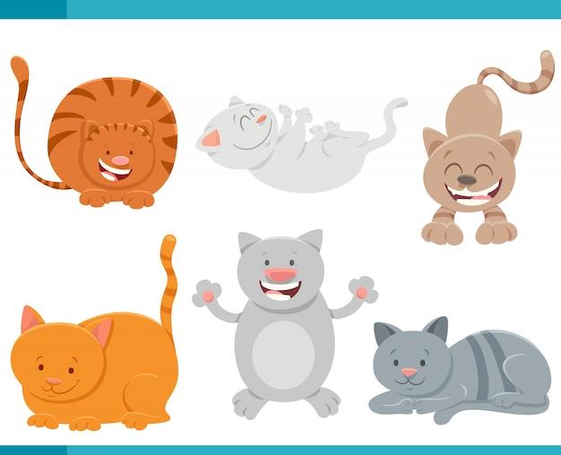 Cartoon illustration of cats or kittens set