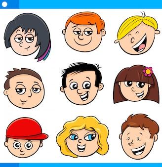Cartoon illustration of children characters set