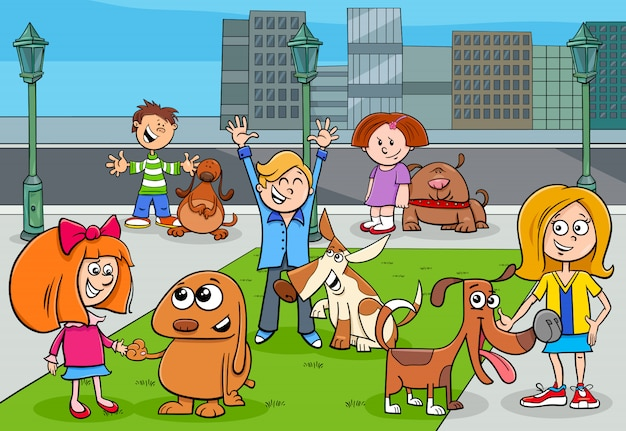 Cartoon illustration of children with dogs