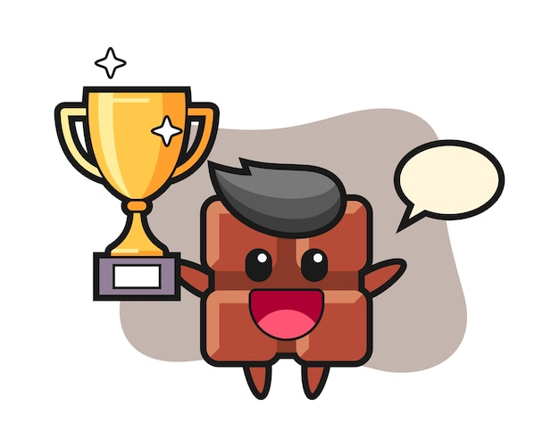 Cartoon illustration of chocolate bar is happy holding up the golden trophy, cute kawaii style.