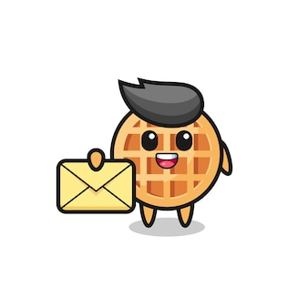 Cartoon illustration of circle waffle holding a yellow letter , cute design