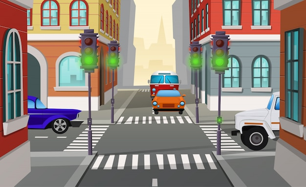 Cartoon illustration city crossroad with green traffic lights and cars, intersection of roads