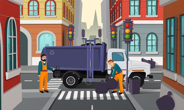 Cartoon illustration of city crossroad with traffic lights, garbage truck and workers pick up