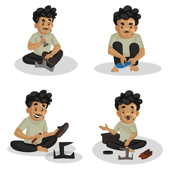 Cartoon illustration of cobbler character set