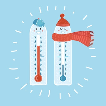 Cartoon illustration of cold hot cartoon thermometer with funny smiling faces. warm hat and scarf and cap. isolated colorful concept