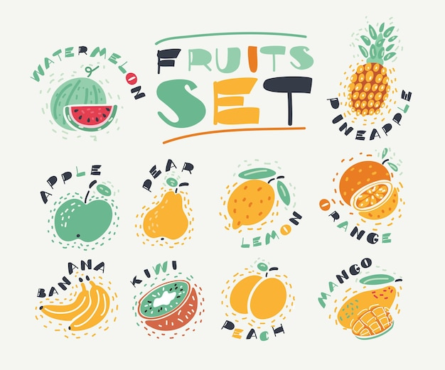 Cartoon illustration of collection of fruits. hand drawn fresh food design elements isolated on white background and names.
