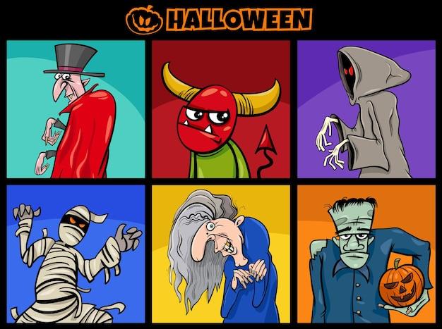 Cartoon illustration of comic halloween characters set