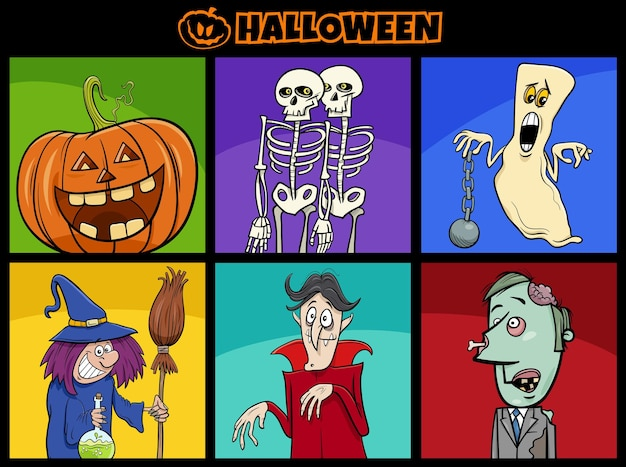 Cartoon illustration of comic spooky halloween characters set