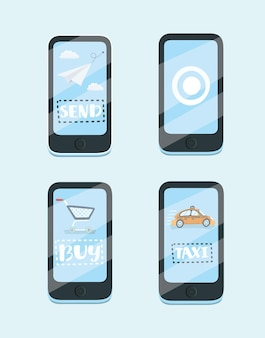 Cartoon illustration of concept for mobile apps. taxi, messenger, online purchase.