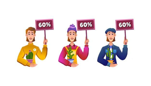 60 % 할인 된 선인장을 판매하는 아름다운 여자의 만화 그림 개념
