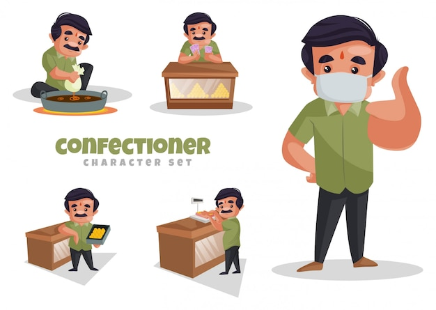 Cartoon illustration of confectioner character set