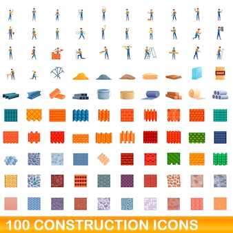 Cartoon illustration of construction icons set isolated on white