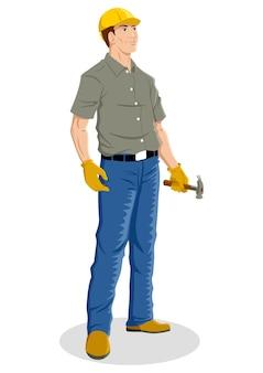 Cartoon illustration of a construction worker