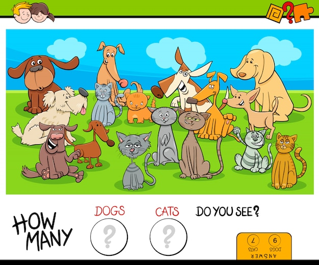Cartoon illustration of counting game for kids with cats and dogs animal characters