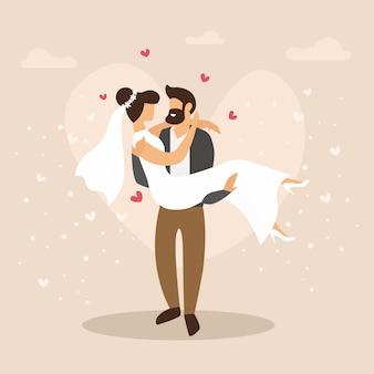 Cartoon illustration of couple just married. wedding event cartoon flat.