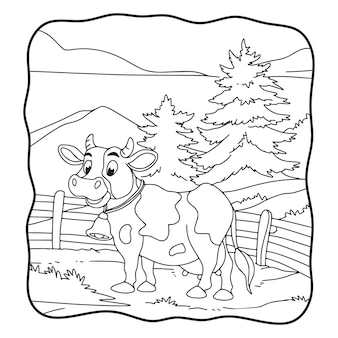 Cartoon illustration the cow is in the meadow book or page for kids black and white