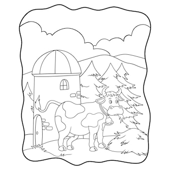 Cartoon illustration cows are eating hay on the farm near the tower book or page for kids black and white