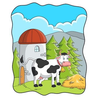 Cartoon illustration cows are eating hay on the farm near the tower