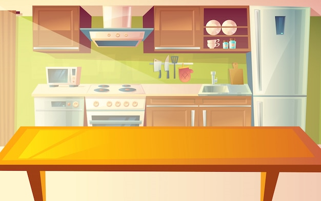 Cartoon illustration of cozy modern kitchen with dinner table and household appliances